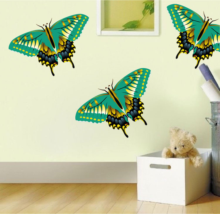 Green butterfly wall decal animal murals primedecals for Butterfly wall mural