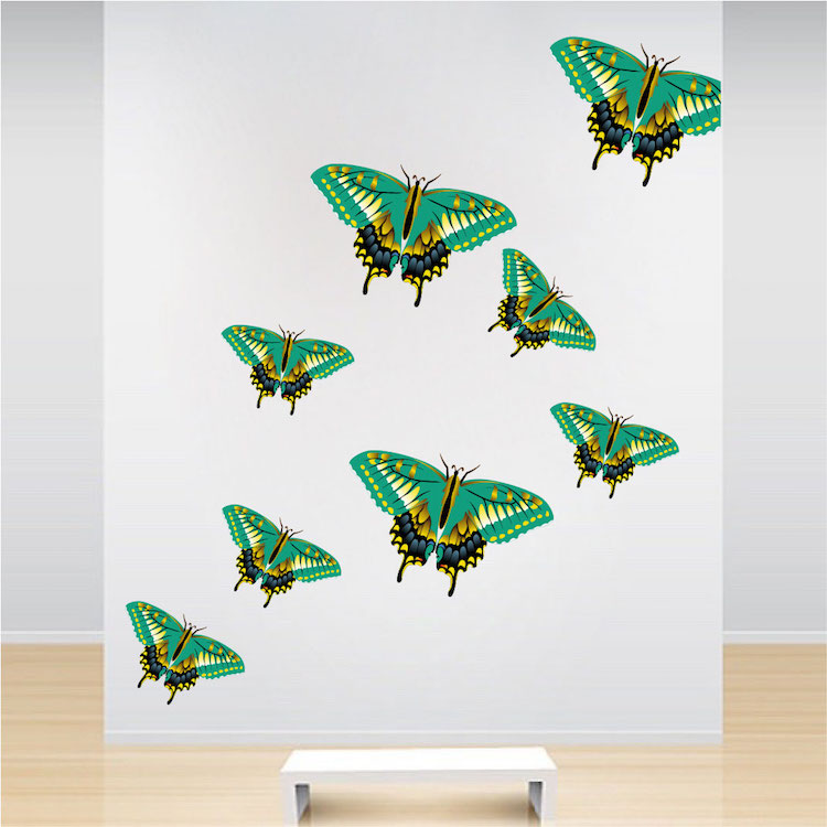 Green butterfly wall decal animal murals primedecals for Butterfly wall mural stickers
