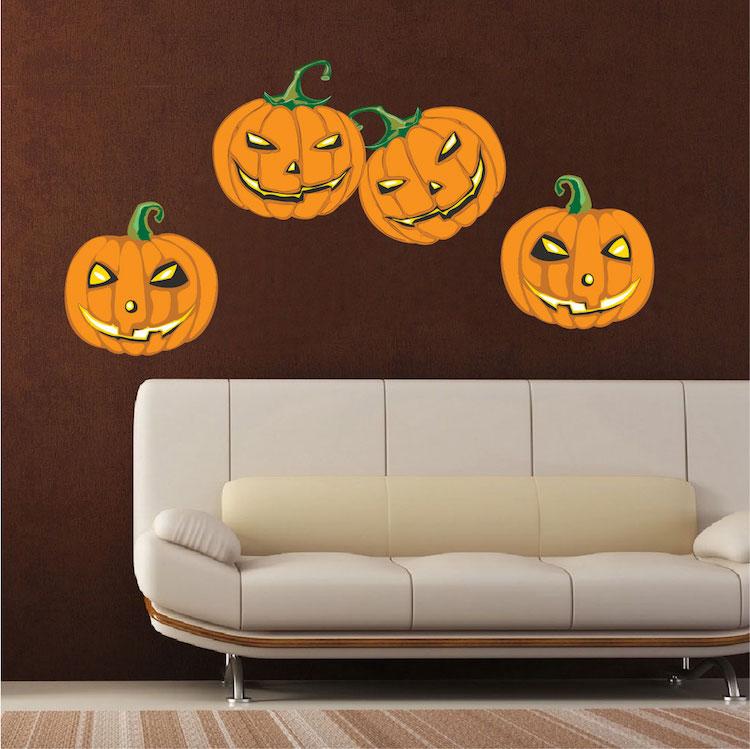 Halloween pumpkin decoration mural decals halloween for Deco mural stickers