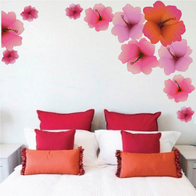 Hibiscus Flower Wall Decal Floral Wall Decal Murals Primedecals