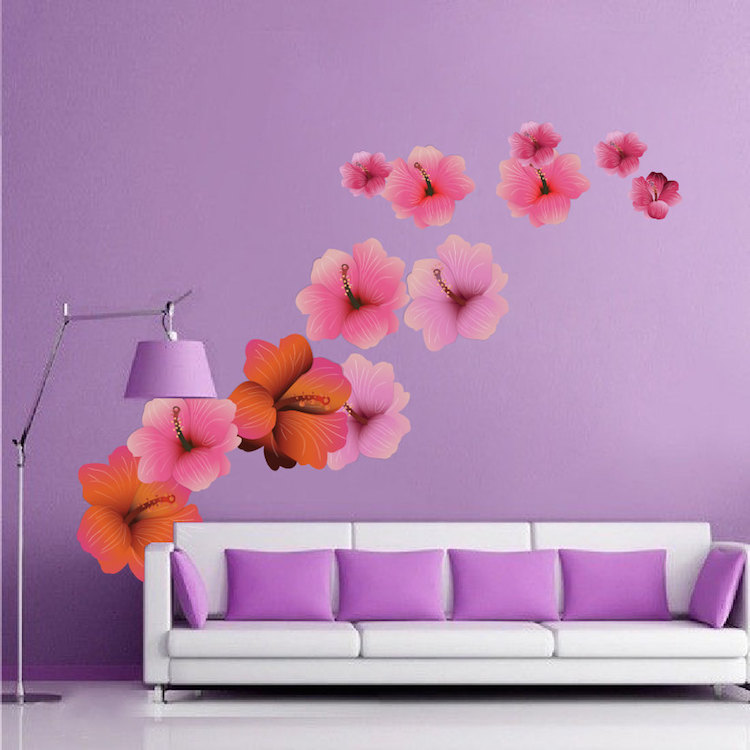 Hibiscus Flower Wall Mural Decals Part 63