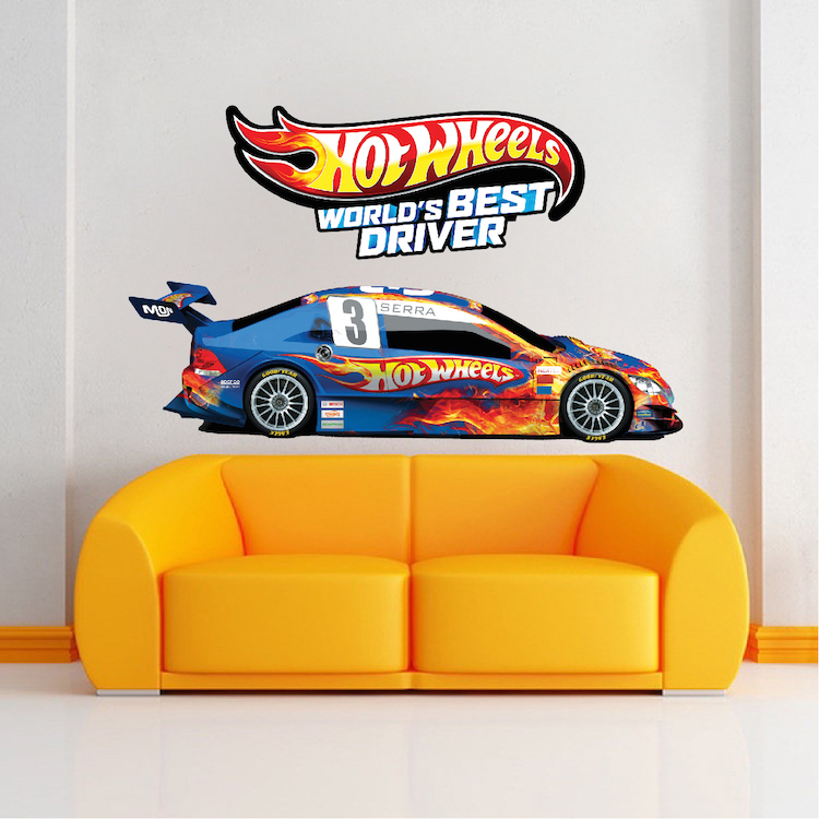 Race car boys room decals race car wallpaper boys room for Circuit hot wheels mural