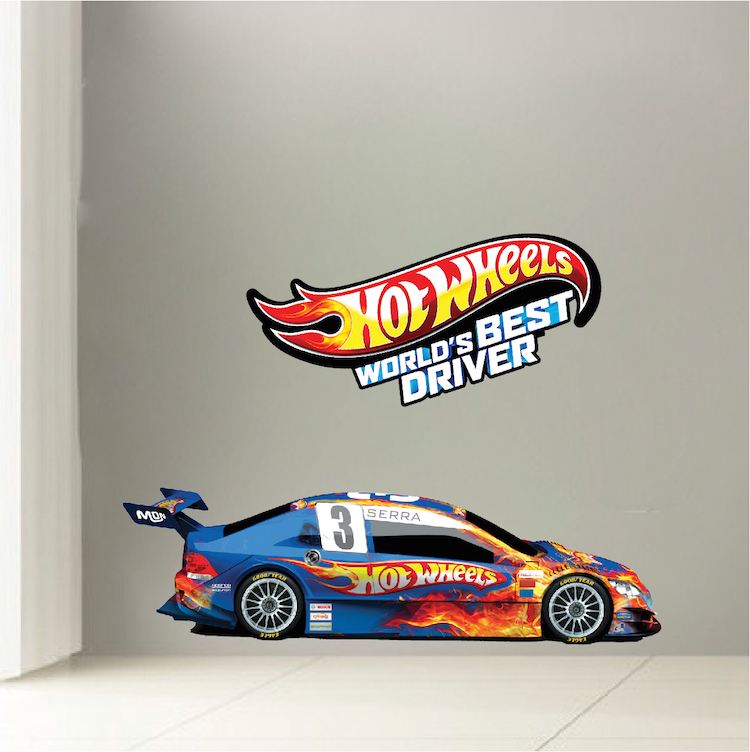 Race car boys room decals race car wallpaper boys room for Cars wall mural sticker