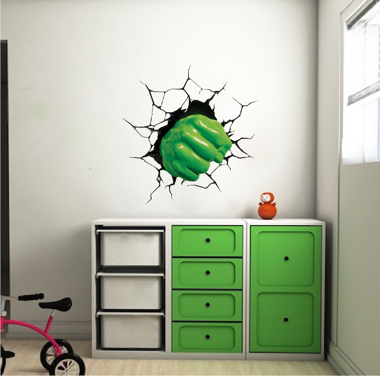 Green Fist Smash Wall Decal - Superhero Wall Design - Kids Smash