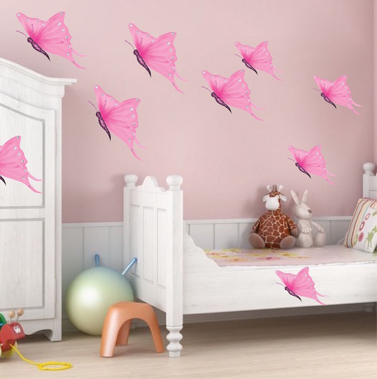 Pink butterfly wall decals butterfly wall decal murals for Butterfly mural