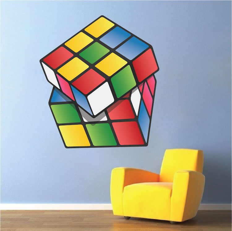 rubik cube wall mural decal rubik wall decal kids. Black Bedroom Furniture Sets. Home Design Ideas