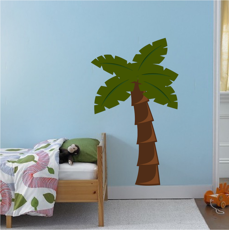 nursery palm tree mural decal nursery wall decal murals primedecals. Black Bedroom Furniture Sets. Home Design Ideas