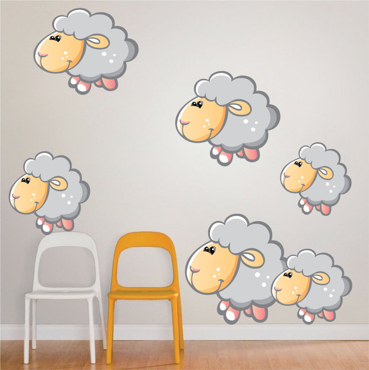 Nursery Sheep Wall Mural Decal Nursery Wall Decal Murals - Wall decals in nursery