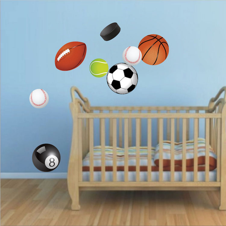 Great sports wall decals home design 920 for Sports decals for kids rooms