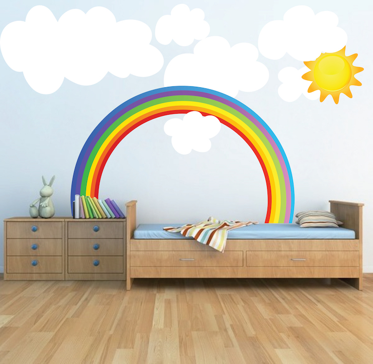 Rainbow wall decals weather wall decal murals primedecals Kids room wall painting design