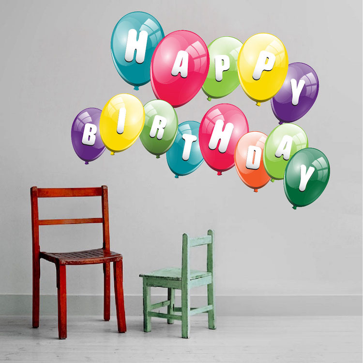 Balloon birthday wall decal birthday murals primedecals for Balloon decoration on wall for birthday