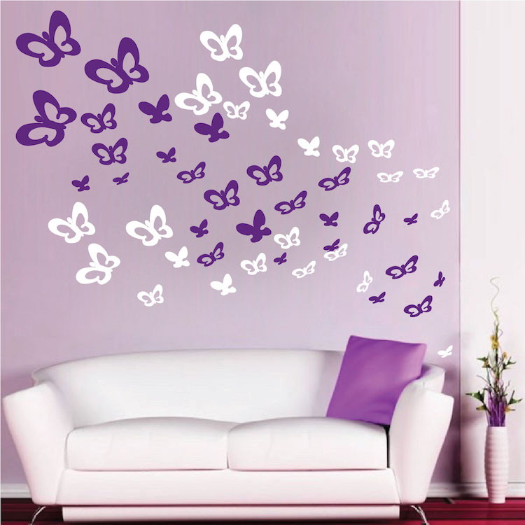 Bedroom butterflies wall decals animal wall decal murals for Butterfly wall mural stickers