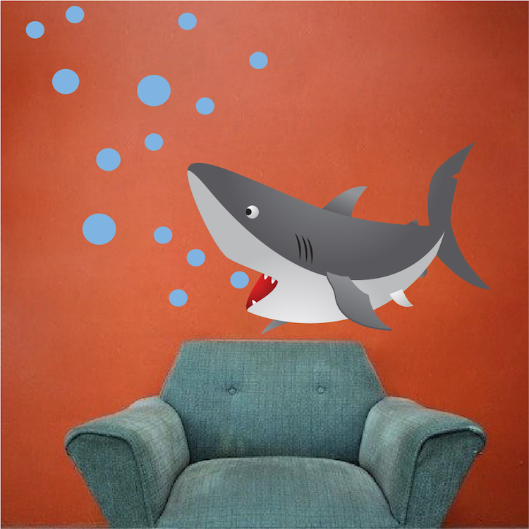 kids shark mural decal nursery wall decal murals primedecals. Black Bedroom Furniture Sets. Home Design Ideas