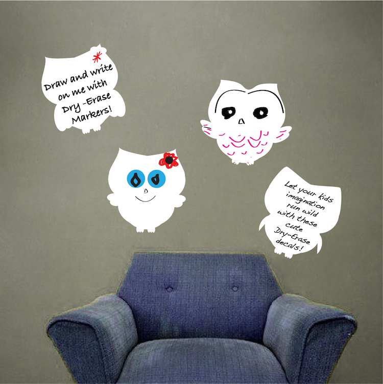 Owl Dry Erase Decals - Dry Erase Wall Decal Murals - Primedecals