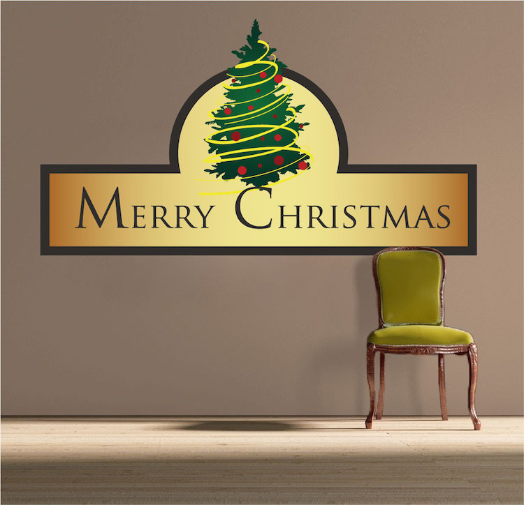 Merry christmas wall decal christmas murals primedecals for Christmas wall mural