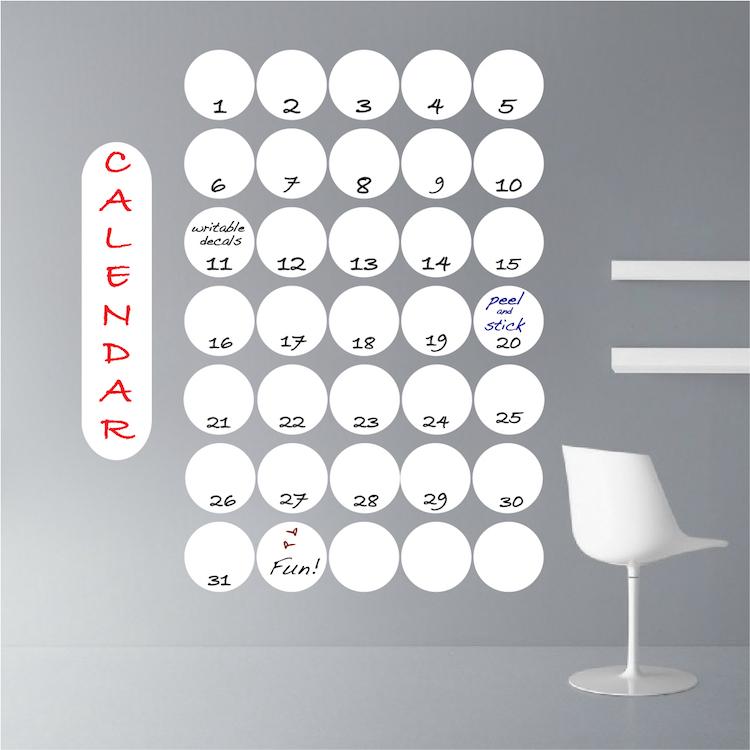 Dry Erase Calendar Decal : Dry erase calendar wall decal