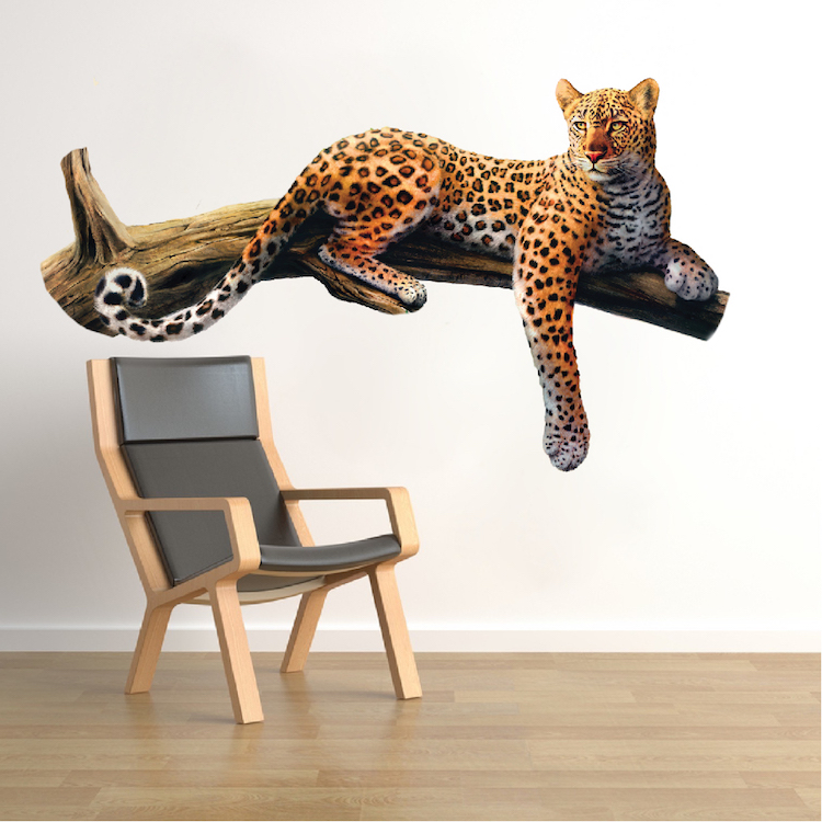 Leopard wall mural decal animal wall decal murals for Animal wall mural