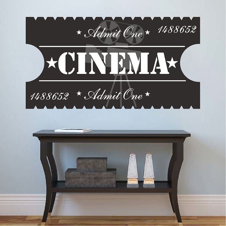 cinema ticket decal theatre wall decal murals primedecals. Black Bedroom Furniture Sets. Home Design Ideas