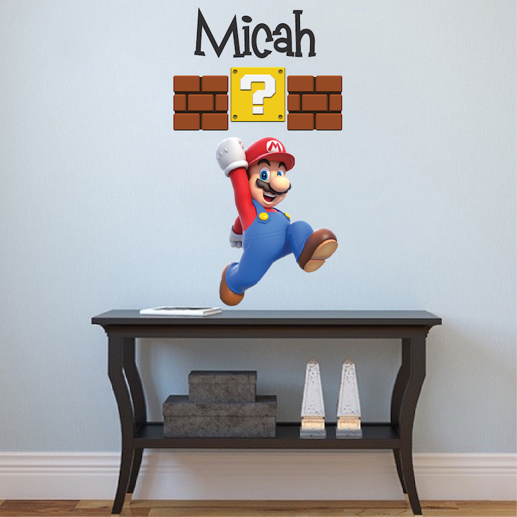 Mario Personalized Name Decal _ Super Mario Wall Decal Sticker _ Video Game  Bedroom Wall Art   Primedecals