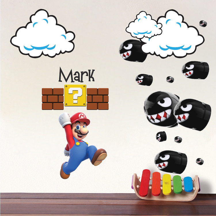 Mario bullet wall decals mario nintendo bullet decals super mario wall decal sticker video - Mario wall clings ...