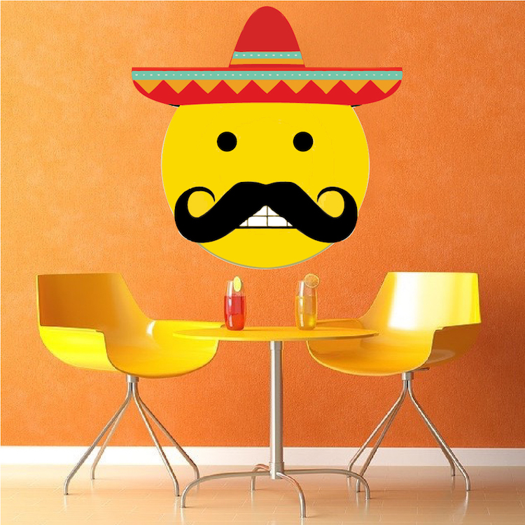 Mexican Emoji Wall Mural Decal Mexican Wall Decal Murals - Emoji wall decals