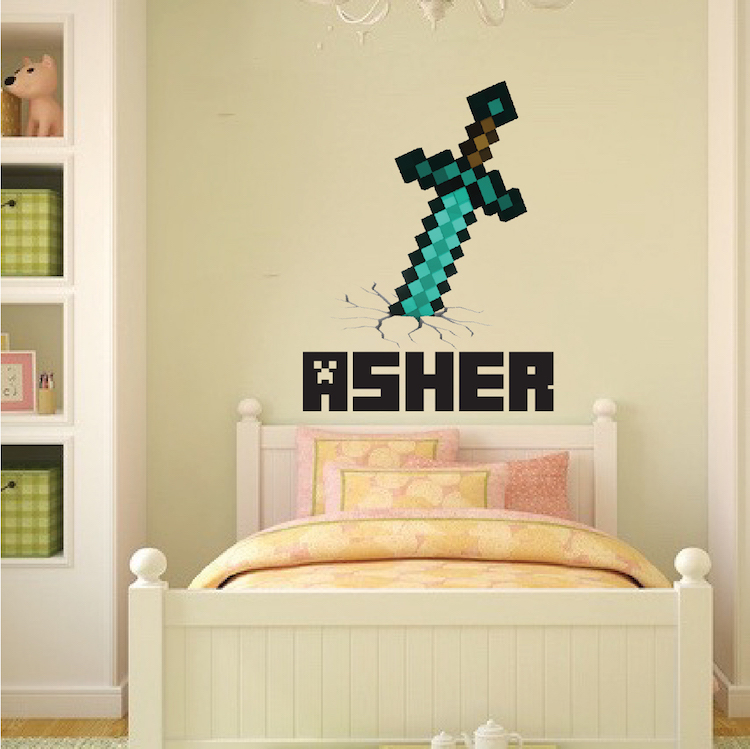 Exceptionnel Boys Sword Personalized Name Wall Decal   Bedroom Design Decals   Video  Game Wall Decal Murals | Primedecals