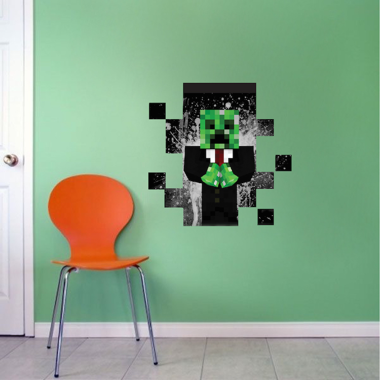 minecraft creeper suit in wall decal - minecraft decal - video