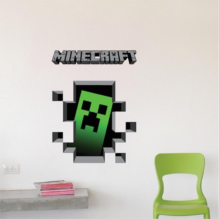minecraft creeper 3d wall decal sticker - minecraft decal - video