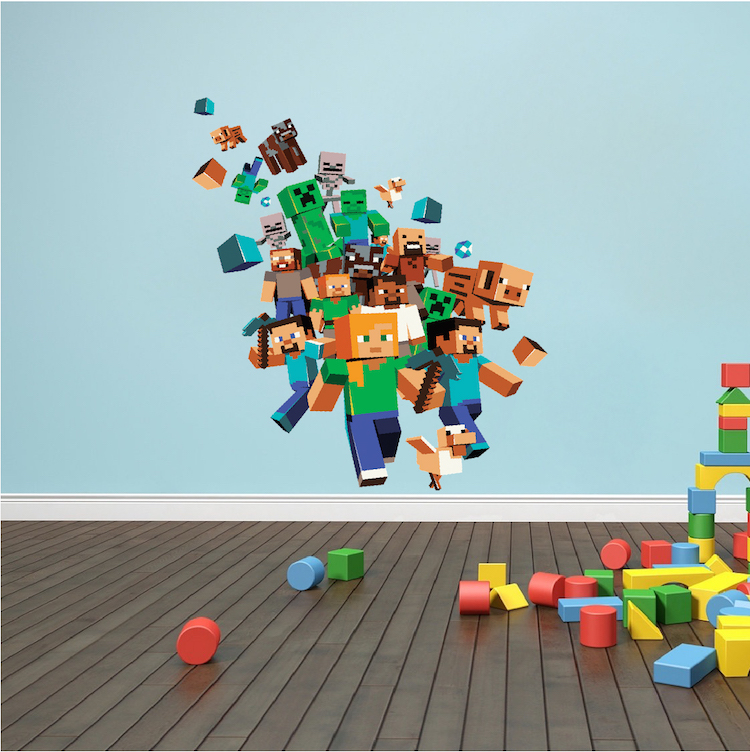 Minecraft Character 3D Wall Decal Mural   Minecraft Bedroom Decal   Video  Game Wall Decal Murals | Primedecals