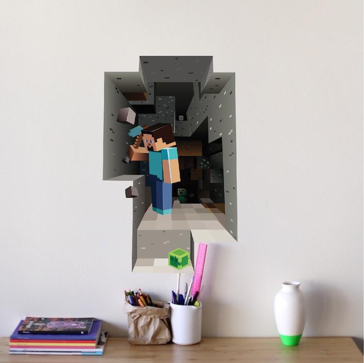Minecraft Steve Cave 3D Wall Mural Minecraft Decal