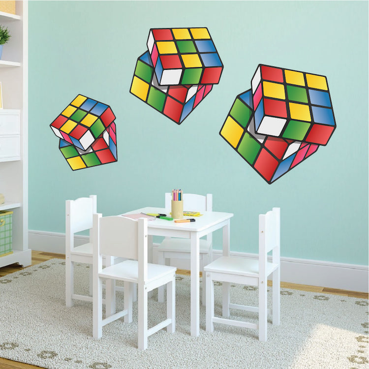 rubik cube wall mural decal rubik wall decal kids bedroom and playroom wall mural sticker