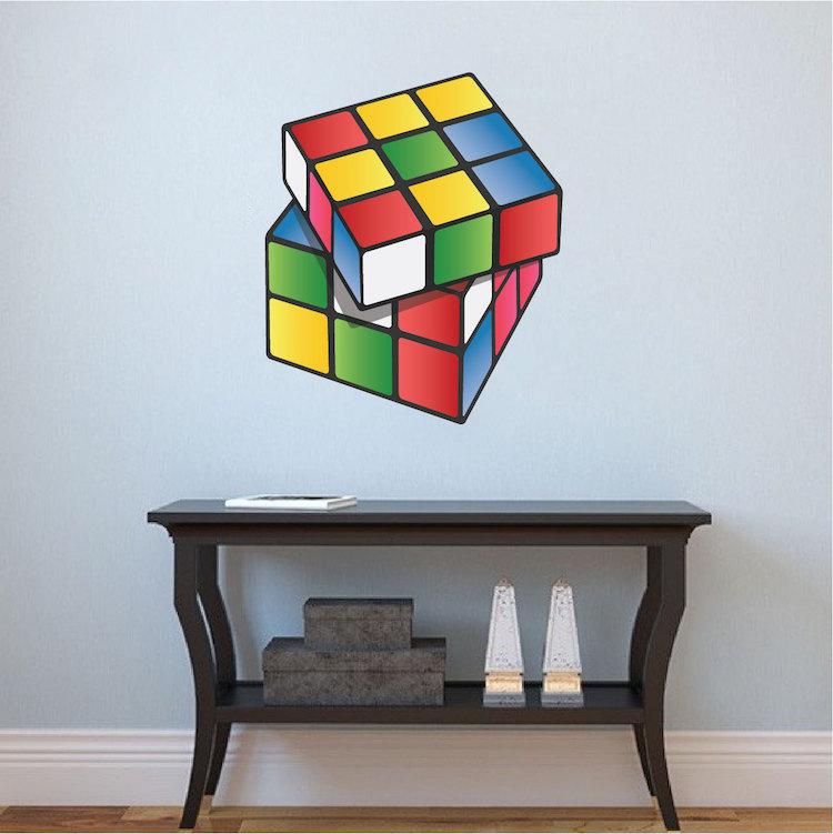 rubik cube wall mural decal rubik wall decal kids. Black Bedroom Furniture Sets. Home Design Ideas