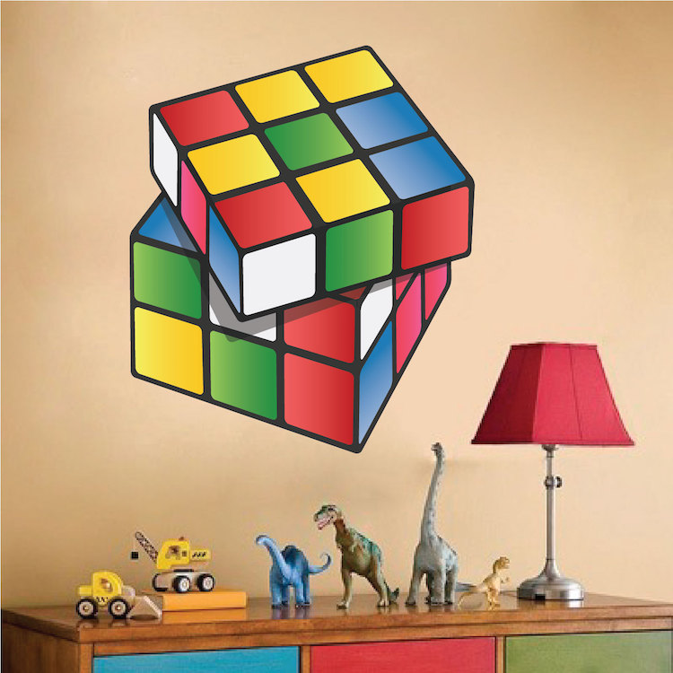 Wall Mural Decal rubik cube wall mural decal _ rubik wall decal _ kids bedroom and