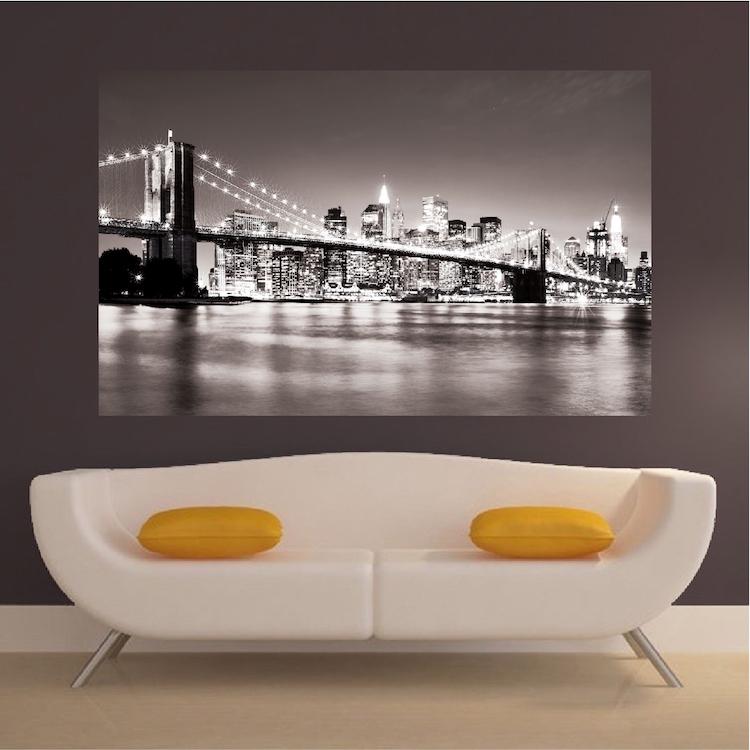 New york bridge mural decal view wall decal murals for Bridge wall mural