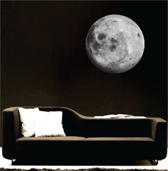 moon wall mural decal - space wall decal murals