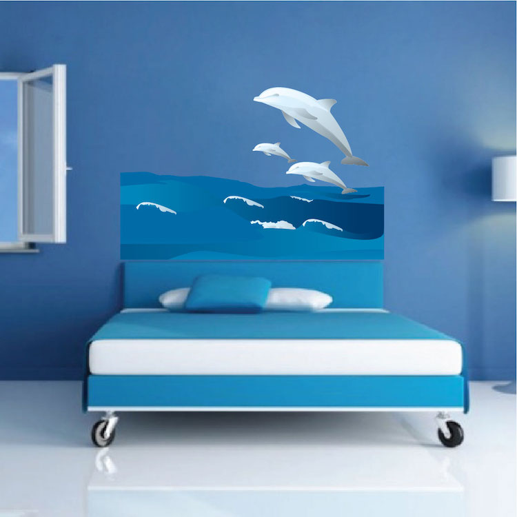 Wall Mural Decal dolphins and waves wall decal - animal wall decal murals - primedecals
