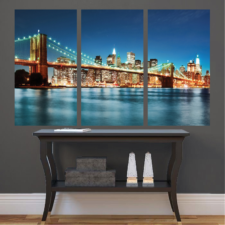 New york city skyline mural decal view wall decal murals for City skyline wall mural
