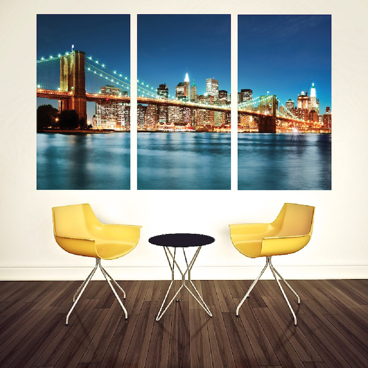 New york city skyline mural decal view wall decal murals for Cityscape murals photo wall mural