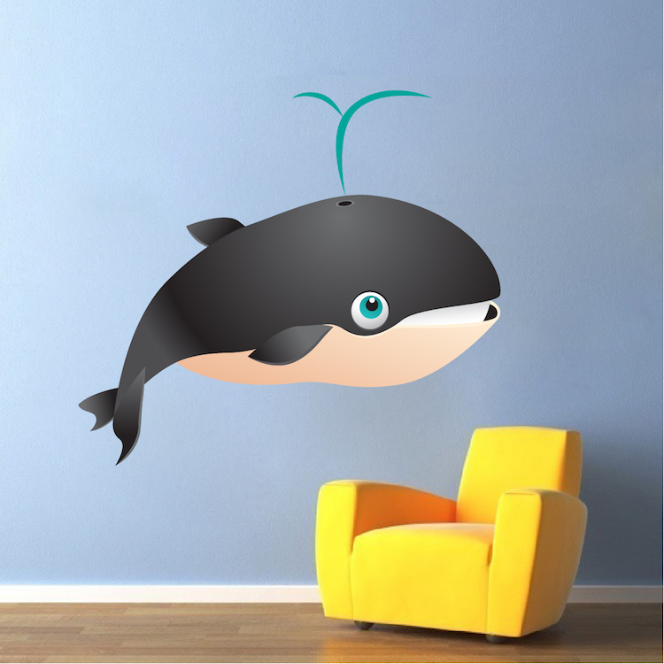 kids whale mural decal nursery wall decal murals. Black Bedroom Furniture Sets. Home Design Ideas