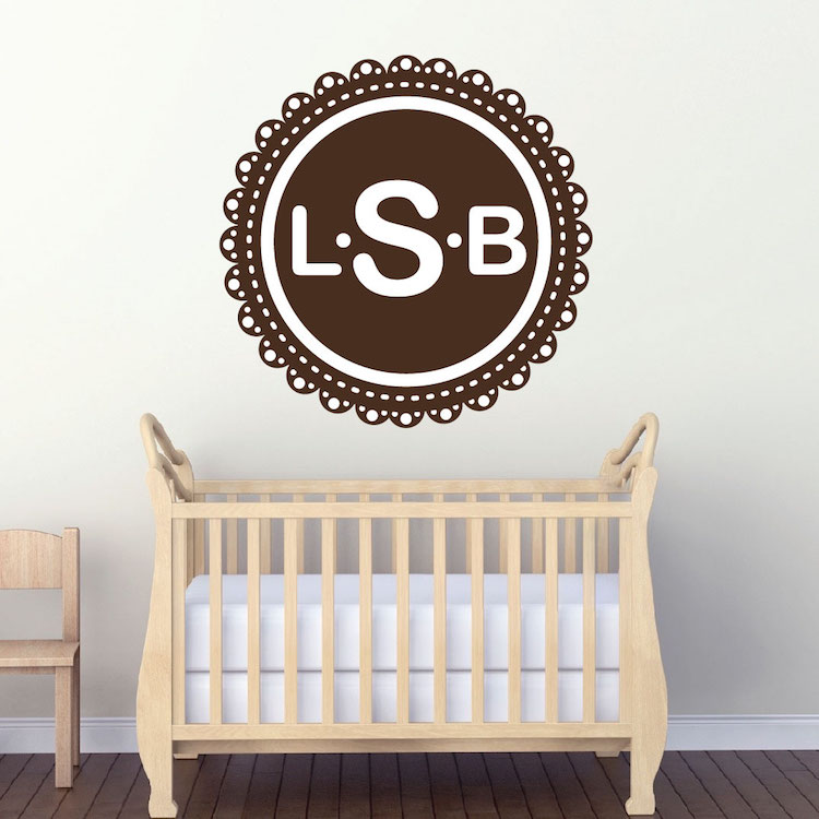 monogram wall decal initial stickers primedecals. Black Bedroom Furniture Sets. Home Design Ideas