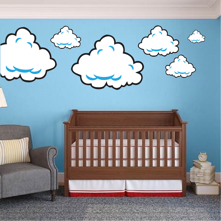 Super mario bros clouds wall decal bedroom stickers mario bros for kids video game wall - Mario wall clings ...