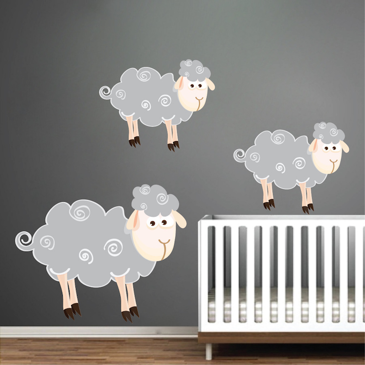 kids sheep wall decals nursery wall decal murals primedecals. Black Bedroom Furniture Sets. Home Design Ideas