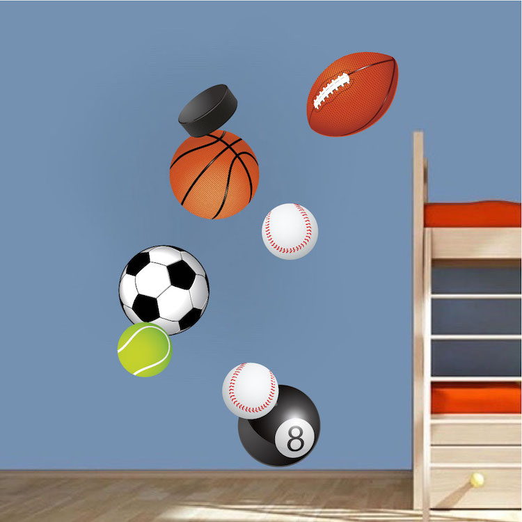 Sports balls wall decal murals sports stickers primedecals for Basketball mural