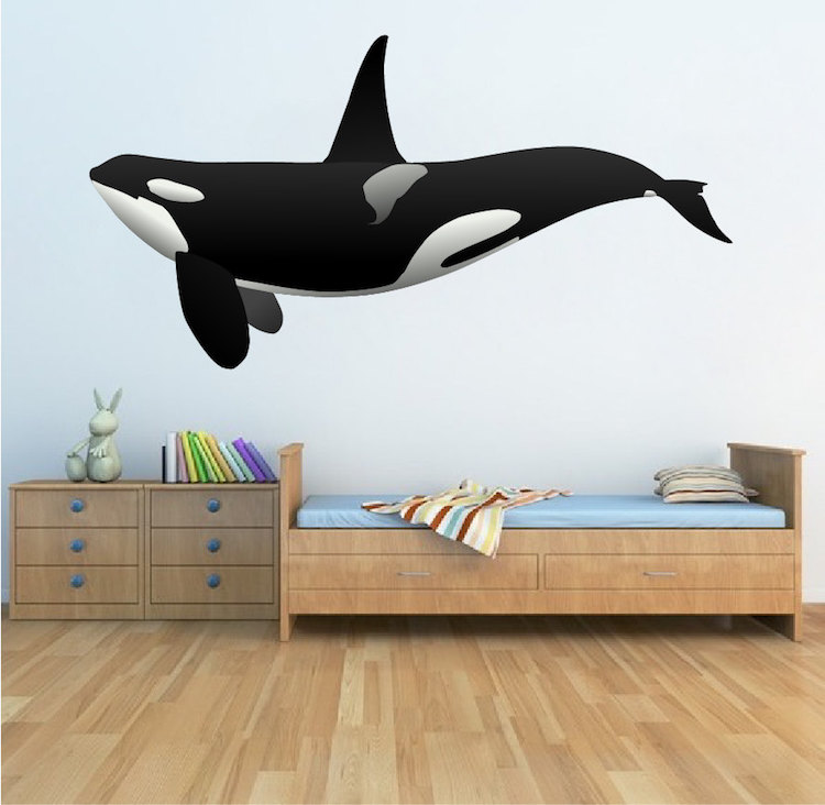 orca whale wall decal animal wall decal murals primedecals. Black Bedroom Furniture Sets. Home Design Ideas
