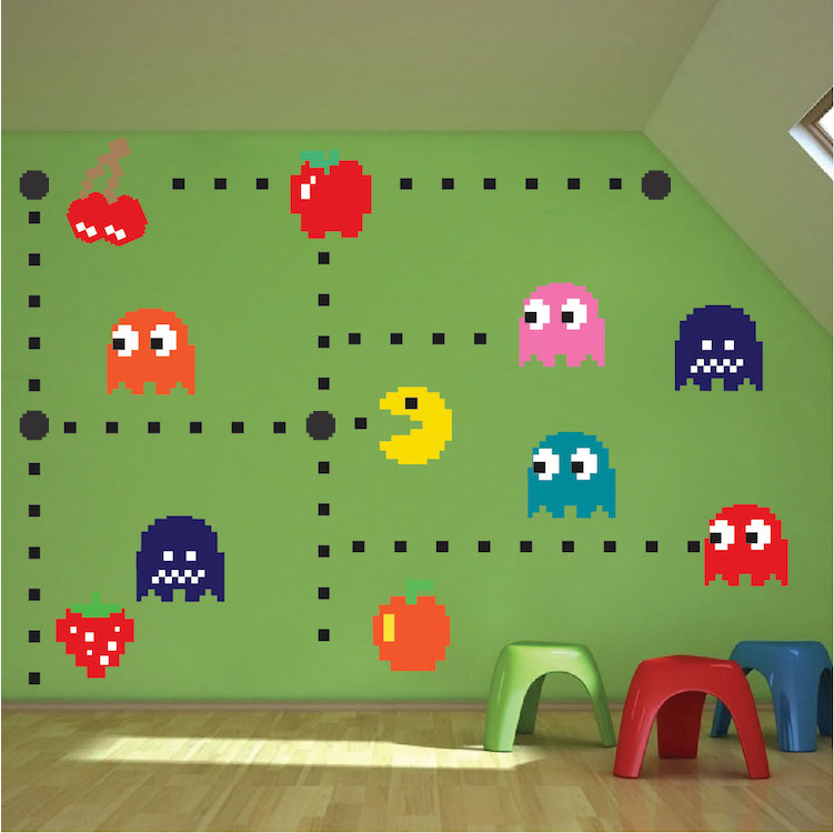 Pac Man Wall Decal   Video Game Wall Decal Murals   Kids Bedroom DIY Pacman  Stickers   Pacman Wall Murals   Pacman Room Decor   Primedecals Part 91