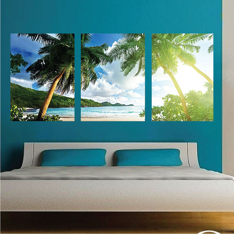 Palm tree view mural decal view wall decal murals for Beach mural for wall