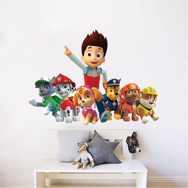 paw patrol wall decal mural paw patrol kids wall decal. Black Bedroom Furniture Sets. Home Design Ideas