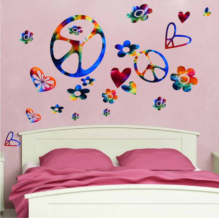 Tie Dye Peace Signs Wall Decal   Sixties Wall Decal Murals   Primedecals