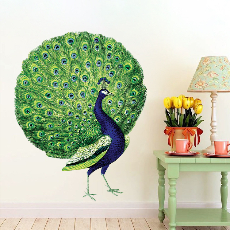 Peacock Wall Decal Mural - Animal Adhesives - Beautiful ...