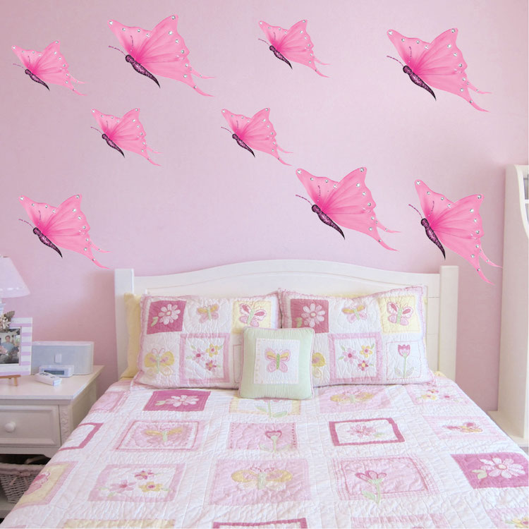 Pink butterfly wall decals butterfly wall decal murals for Butterfly wall mural